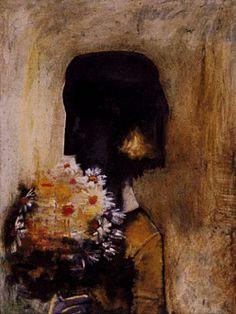 Charles Blackman ~ Girl with Flowers Australian Painters, Australian Artists, Alice In Wonderland Series, Girls With Flowers, Unusual Art, Indigenous Art, Modern Artists, Life Drawing, Beautiful Artwork