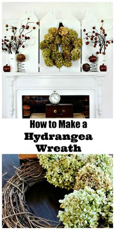 How To Make a Hydrangea Wreath. Easy green craft you can make for free!
