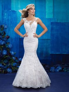 Allure Bridal Style: 9422 A graceful trumpet silhouette is accented by a sheer illusion neckline. Spring 2017 Wedding Dresses, Bridal Wedding Dresses, Wedding Dress Styles, Designer Wedding Dresses, Bridal Style, Bridesmaid Dresses, Lace Wedding, Lace Bride, Modest Wedding