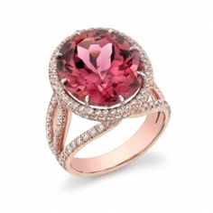 18K Rose Gold with Pink Tourmaline and Diamonds