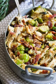 Roasted chicken brussels sprouts and bacon are baked in a creamy dairy free sauce for a super comforting and delicious Whole30, paleo, and low carb meal.