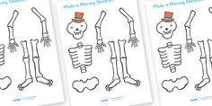 Twinkl Resources >> Funny Bones Make a Moving Skeleton (A4)  >> Thousands of printable primary teaching resources for EYFS, KS1, KS2 and beyond! funny bones, Janet and Alan Ahlberg, story, story book, story book resources, story sequencing, story resources, skeleton, our body, all about me,