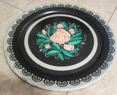 Vintage Toleware Tray Metal Tray with Pink Roses Large 19 Inches Pink Black   Please RePinit and Thanks Have a GREAT Week.