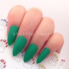 Set of 20 Pcs Green Hand Painted Nail Tips / Press On / Stick On - Stiletto, Oval or Short Squoval - Glossy or Matte by 31313 on Etsy
