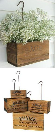 DIY nesting herb boxes   DIY wooden herb crates   Step-by-step hanging herb crate tutorial   Farmhouse style rustic decor   Free stencil   Free printable   Scarborough Fair   Scrap wood home decor   Stenciled home decor   How to stencil   Festive home decor   Cheap