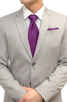 Tie and Pocket Square Set Magenta Purple $38 - Looks amazing with a grey suit!