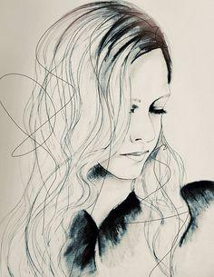 Aurora Fashion Illustration Art Print por LeighViner en Etsy