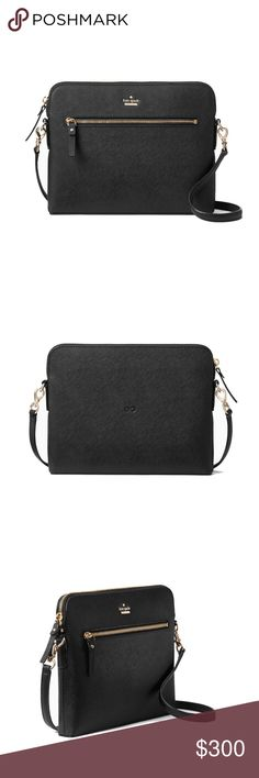 """Everpurse Kate Spade Zana Black Crossbody Bag will keep you charged all day long. Slide your phone into the charging pocket! * 8""""h x 10""""w x 1""""d, Weight 1.4 lbs, Drop length: 22"""" *Saffiano leather with matching trim, Custom woven caroleena spade dot lining, 14 karat gold plated hardware. removable cross body strap, Interior zip pocket, charging dock, Exterior zip pocket. Charges iPhone 5/5s, iPhone 6/6s, iPhone 6+/6s+, iPhone 7, iPhone 7+. New never used. Just tested to make sure it works…"""