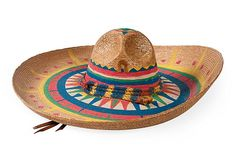 Vintage Mexican Painted Sombrero