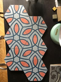 MOZA cement tile HEXA Cement, Cube, Kitchen, Cooking, Kitchens, Cuisine, Cucina, Concrete