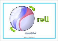 Here's a set of posters that show how different objects move (push, roll, bounce, etc.).