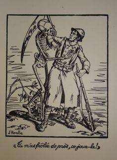 Linogravure caricature guerre 14-18, 1ere moitié XXe, tirage du Lafuma Bertholet et Navarre à Voiron -filigrane-, par Jean Virolle 1890-1948, 36x27cm