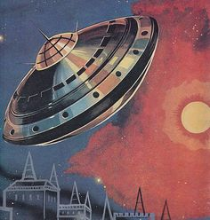 Detail from a German publication calked Zukunft Roman (Future Novels), but no further info as to date or artist. #coverart #flyingsaucers #scifiart #spaceships