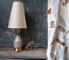 Atomic Lamp 1950's Retro Table Lamp: Vintage Mid Century Modern Ceramic Lamp, White and Gold