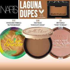 NARS Cosmetics Laguna Bronzer Dupes – All In The Blush Hi everyone! So after recently hearing that NARS is backing away from their cruelty-free stance and will begin to test on animals in order … Drugstore Makeup Dupes, Beauty Dupes, Makeup Swatches, Beauty Makeup, Makeup Geek, Nars Dupe, Skincare Dupes, Elf Makeup, Makeup Goals