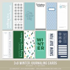 This set of winter themed digital journaling cards is perfect for pocket page protectors, scrapbooking and mini-books. Included in this set are ind. Travel Journal Scrapbook, Project Life Scrapbook, Scrapbook Cards, Scrapbooking, December Daily, Life Journal, Journal Cards, Journaling, Mini Albums Scrap