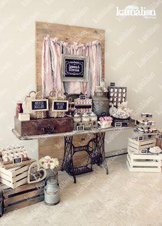 www.kamalion.com.mx - Candy Bar / Decoración / Vintage / Teddy / Pink & Gray / It's a girl / Dulces / Macarrones / Rosa & Gris / Dulces / Lecheros / Rústico / Pizarrón / Maletas.