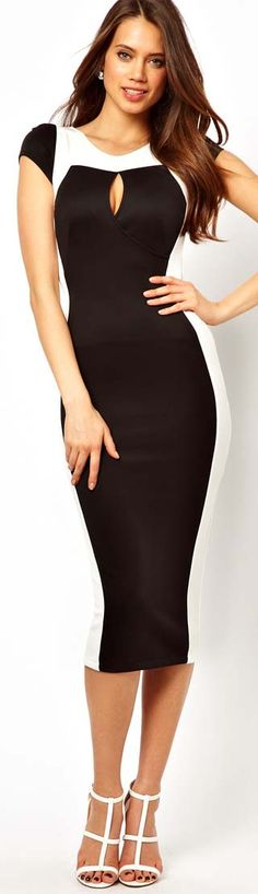 TFNC Pencil Dress With Contrast Panel - This is sexy because of the form fitting dress and the little peep at the top but the length and that nothing is revealed through the peep. Also the strappy show gives a sexy flare without being trasy