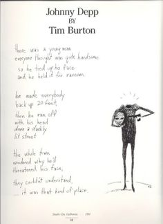 Poema que Tim Burton escribió dedicado a su gran amigo y actor fetiche, Jonny Deep_Publicado en el libro Double Exposure, Take Therre de Roddy McDowell
