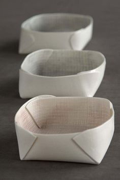 Paper like folder ceramic bowls. All hand made ceramic pieces by Fanny Laugier (France).