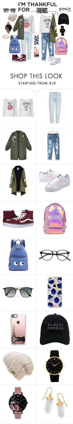 """""""Thanks Best Friend"""" by lenachkka ❤ liked on Polyvore featuring M.i.h Jeans, WithChic, Moschino, adidas Originals, Vans, Miss Selfridge, Anya Hindmarch, Ray-Ban, Sonix and Casetify"""