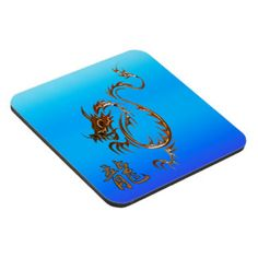 Chinese Copper Dragon on Blue Beverage Coasters