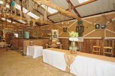 Rustic Barn wedding food table & cake table.