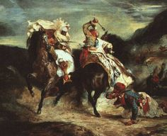 The Combat of the Giaour and Hassan by Eugène Delacroix oil on canvas, Art Institute of Chicago). Inspired by Lord Byron's poem The Giaour. Ferdinand, Delacroix Paintings, Eugène Delacroix, Jean Leon, Painting Prints, Art Prints, Basic Painting, Oil Paintings, Art Institute Of Chicago