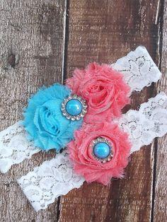 Wedding Garter .. Coral Turquoise Garter .. by CutieButtsBoutique, $24.99
