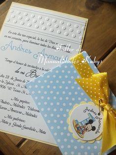 INVITACIONES DE BAUTIZO mickey mouse por manualidadeskukys en Etsy