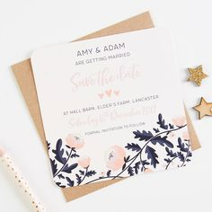 Blush And Navy Floral Square Save The Dates