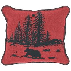 Wooded River Bear 5 Square Pillow
