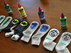Slip-Proof Socks http://www.iammommahearmeroar.net/2010/10/homemade-gripper-socks.html