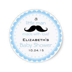 Mustache-Blue Baby Shower Sticker