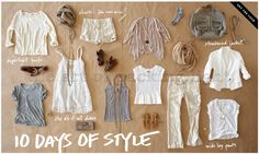Calypso's 10 Days Of Style! This is THE perfect visual packing list for a mission trip Travel Wear, Travel Style, Travel Packing, Travel Attire, Vacation Packing, Travel Outfits, Travel Capsule, Travel Dress, Vacation Style