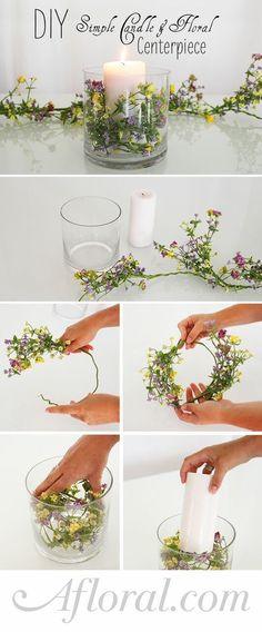 Hochzeit Inspirationen l Schicke Teelichter günstig selber machen l Simple Floral and Candle Centerpiece