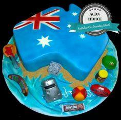 Australia day cake Beautiful Cakes, Amazing Cakes, Australia Cake, Australia Day Celebrations, 65th Birthday, Birthday Cakes, Tim Tam, Anzac Day, Cupcake Cakes