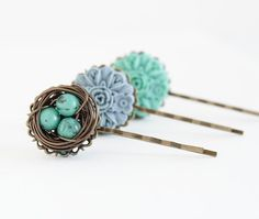 Bird Nest Bobby Pins, Green Blue, Nature Inspired, Gift  For Girl, Gift For Daughter, Bird Nest Hair Pins, Hair Accessories on Etsy, $15.00