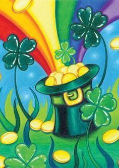 Toland Home Garden Hat 'O Gold 28 x 40 Inch Decorative Shamrock Rainbow Pot Gold St Patrick's Day Clover House Flag Saint Patricks Day Art, Happy St Patricks Day, Chapeau Saint Patrick, Sant Patrick, St Patrick's Day Decorations, St Patrick's Day Crafts, Paint And Sip, Flag Decor, Chalkboard Art