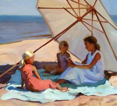 Beach Story  ~ Jeffrey Larson.  I so like this painting.  I like the colors, the shadows, the crisp summer dresses...all of it.