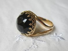 Onyx ring in gold -  Gold ring - Black ring - 14mm Rose cut  gemstone, Cocktail ring, Vintage ring,  Statement ring. $53.00, via Etsy.