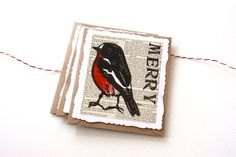 Pack of 3 Handpainted Linoprint Christmas Cards - Red Robin Fancy Edged Card Pack on Etsy, $9.90 CAD