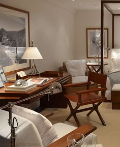"""Ralph Lauren Home Archives, """"Point Dume"""", Bedroom detail, 2014; """"A modern, tranquil interpretation of Ralph Lauren's iconic love of seaside living, featuring rich wood, clean architectural lines and an elegant palette of crisp whites."""""""
