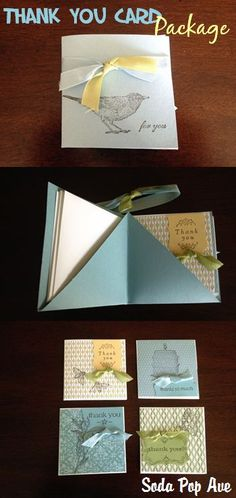 This is a great idea for a thank you card; it is a package of four thank you cards and envelopes.  www.SodaPopAve.com