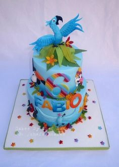 Chefsam loved doing this cake! The client wanted lots of colour. She loved having that instruction! The top tier is rainbow layer cake and the bottom is chocolate with chocolate ganache. :)