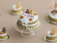 Golden Christmas Cake Decorated with by ParisMiniatures on Etsy  ♡ ♡