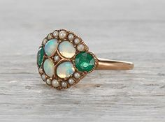 Victorian Opal, Seed Pearl and Emerald Ring