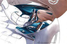 #Mazda Shinari concept interior sketch by Julien Montousse current design director at Mazda North America > https://www.formtrends.com/julien-montousse-named-mazda-north-america-design-director/