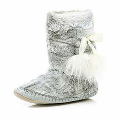 grey faux fur slipper boots - loungewear / slippers - accessories - women - River Island