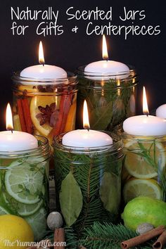 Natural Room Scent Jars for DIY Gifts and Centerpieces. (heat them in mini crocks, tealight  burners, electric candle warmers, or on the stove) www.theyummylife.com/Scent_Jar_Gifts_and_Centerpieces